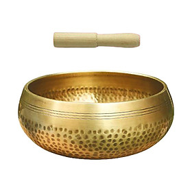 Hand Hammered Singing Bowl Set Buddhism Tibetan Yoga  Meditation Bowl Religion Belief Prayer for Calming & Mindfulness Perfect Gift Home Decor