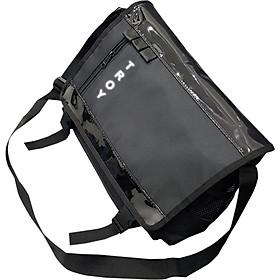 Cặp đeo chéo nam nữ thời trang TROY CN02 nắp phối nhựa bóng đen in chữ phản quang cá tính