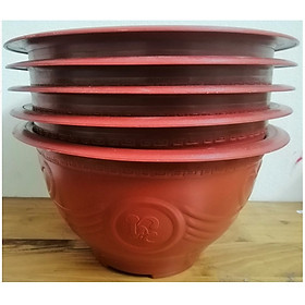 5 Châu Nhựa Trồng Cây Bình Thuận Plastics Hình Tròn PLT280 Màu Đỏ Kích Thước 280x150