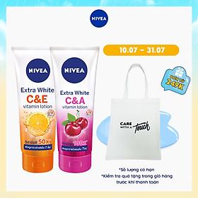 Combo Sữa Dưỡng Thể Dưỡng Trắng NIVEA EXTRA WHITE C & E VITAMIN -180ml - 84374 &  Extra White C & A Vitamin - 180ml - 80372