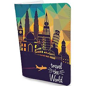 Bao Da Hộ Chiếu TRAVEL THE WORLD - Ví Đựng Passport Du Lịch Độc Lạ - PPT058