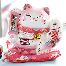 """Mèo Jinshi Hồng Cá chép sứ """"Kim Vận Chiêu Tài"""" 20cm (có video sản phẩm)"""