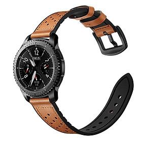 Dây da lỗ Hybrid Size 22mm cho Galaxy Watch 46, Huawei Watch GT 2, Samsung Gear S3, Fossil