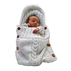 New Newborn Baby Infant Knit Crochet Swaddle Wrap Swaddling Blanket Sleeping Bag