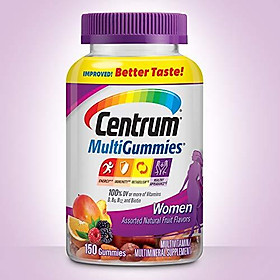 Centrum Women MultiGummies (150 Count, Natural Cherry, Berry, Orange Flavor) Multivitamin / Multimineral Supplement Gummies
