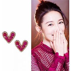 Bông tai trái tim đá - phụ kiện trang sức thời trang Hàn Quốc.