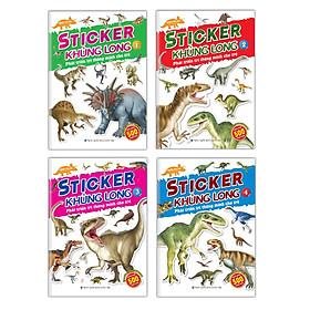 Sách Sticker khủng long Phát triển trí thông minh cho trẻ 4 quyển kèm trang sticker dán hình