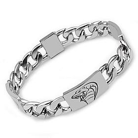 Lắc tay nam inox thời trang kiểu lặc cách điệu chạm đầu con rắn trangsucpt màu trắng trangsucpt thép không gỉ PTLTNA109