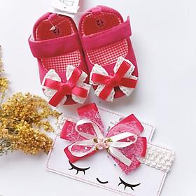 Bộ sản phẩm Giày tập đi + 1 Băng Đô cho bé gái sơ sinh từ 0 - 12 tháng - Quà tặng thôi nôi- Ma07 - màu đỏ nơ trắng, băng đô đỏ