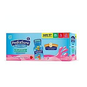 Thùng Sữa Pediasure Nước Grow & Gain Optigro Strawberry Shake (vị dâu) mẫu mới 2020 Của Mỹ 24 chai x 237 ML