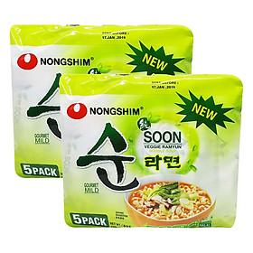 Combo 10 Gói Mì Chay Soon Veggie Ramyun Nongshim (112g / Gói)