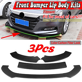 3PCS Carbon Look Front Bumper Lip Body Kit Spoiler For Toyota Hilux Yaris Fortuner C-HR