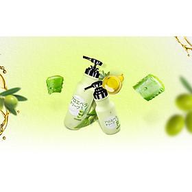 Sữa tắm Hasi Kokeshi dưỡng ẩm, trắng da chiết xuất Nha đam và Oliu - White & pure spa shower milk with Aloe vera extract and Olive oil