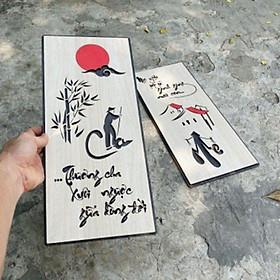 (Rẻ Vô Địch) Tranh gỗ treo tường thư pháp Qùa Tặng Cha Mẹ, Ông Bà, Đối Tác, Doanh Nghiệp Tân Gia