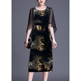 Đầm Suông BigSize In Hoa Lá Kiểu Đầm Suông Trung Niên Dự Tiệc Size Lớn ROMI 3269