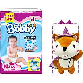 Tã Dán Bobby Êm Mềm Khô Thoáng XL62 (62 miếng) - Tặng 1 cáo bông xinh xắn