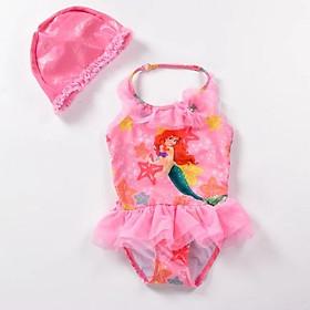 Đồ bơi liền thân, bikini nàng tiên cá kèm mũ bơi cho bé gái