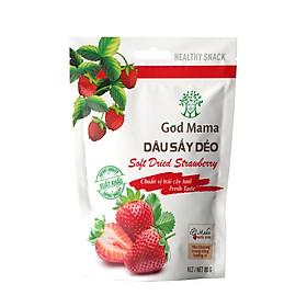 Dâu sấy dẻo God Mama - 80g - Ăn vặt tốt cho sức khỏe. Nguyên liệu được lựa chọn cẩn thận từ nhà vườn, chất lượng cao, độ chín vừa phải, đảm bảo độ mềm, dẻo vừa ăn cho sản phẩm