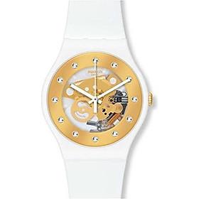 Swatch SUOZ148 sunray glam white rubber strap unisex watch NEW