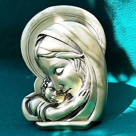Tượng Đức Mẹ Maria Bồng Chúa Hài Đồng DSF-HR03-V Bằng Đá Nhân Tạo Giả Đồng, tinh xảo, kích thước nhỏ gọn, gắn xe ô tô, để bàn, trang trí phòng làm việc - Hàng đá mỹ nghệ truyền thống