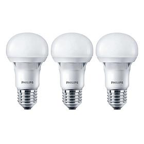 Bộ 3 Bóng Đèn Philips LED Ecobright 5W 3000K E27 A60  - Ánh Sáng Vàng - Hàng Chính Hãng