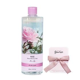 Nước Hoa Hồng Cấp Ẩm, Phục Hồi và Se Khít Da Derladie Rose Natural Moisture Toner 500ml. Tặng kèm Cột tóc Nơ The Little Bownie