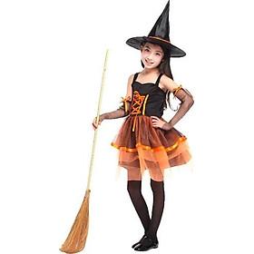 Bộ váy phù thủy màu cam ngắn hóa trang Halloween G-0195B