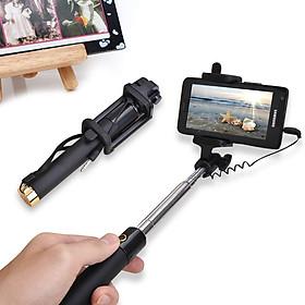 Gậy tự sướng selfie stick màu đen - Gậy chụp hình kết nối điện thoại Jack 3.5mm - Hàng Chính Hãng Like Tech