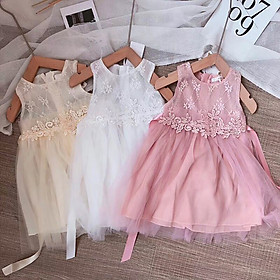 Đầm công chúa nhiều lớp đính hoa cho bé gái 1-6 tuổi từ 12 đến 22 kg 01900-01902