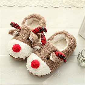 Women Winter Slippers Christmas Fluffy Warm Soft Anti-Slip Cute Cartoon Home Floor Shoes