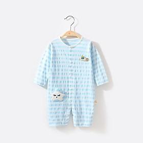 Bộ body suit dài tay cotton mỏng cho bé 0-9 tháng tuổi - quần áo sơ sinh