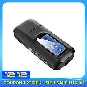 Bộ thu phát Bluetooth 5.0 và USB 2 trong 1 màn hình LCD 3.5MM AUX dùng cho máy tính/ TV/ ô tô/ tai nghe không dây