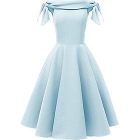 Lace up Off shoulder Party Dress Women Clothes Vintage Evening Short Sleeve Midi A-Line Solid Slash Neck Dress
