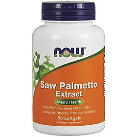 Viên Uống Hỗ Trợ Sức Khỏe Nam Giới Now Saw Palmetto Extract (Cây Cọ Lùn) & Dầu Hạt Bí Đỏ (90 Viên Nang Mềm)