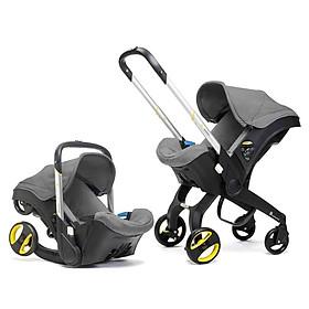 Xe đẩy 2 chiều gấp gọn du lịch kiêm nôi xách tay, ghế ô tô an toàn cho bé 3in1 ( xám)