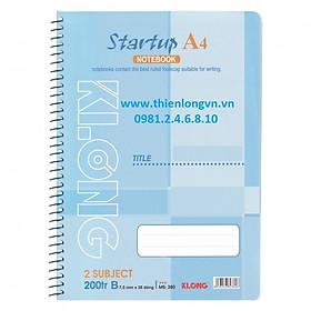 Sổ lò xo đơn A4 - 200 trang; Klong 380 bìa xanh
