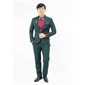 Suit xám xanh rêu 1 nút