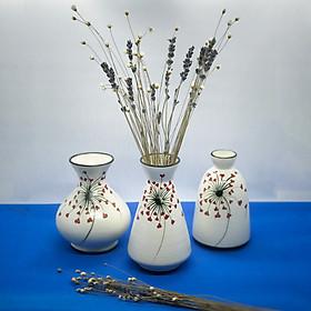 Set 3 Lọ Hoa Gốm Sứ Bát Tràng Cao Cấp Họa Tiết Vẽ Thích Hợp Hoa Khô Và Hoa Tươi