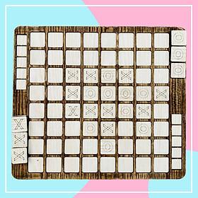 Đồ Chơi Trí Tuệ,  Bàn Caro 64 Quân Bản Màu Vân Gỗ Board Game Đối Kháng Dành Cho Mọi Lứa Tuổi