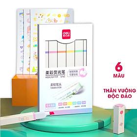 Bút highlight nhấn dòng macaron kèm sticker dạ quang Deli - hộp 6 chiếc - S741