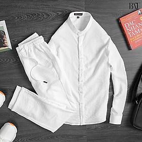 Đồ bộ đũi nam Azila, Set bộ quần áo đũi dài tay nam lịch sự chất liệu đũi xước cao cấp, mềm mịn - Đũi03