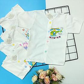 Set 5 áo sơ sinh cotton tay ngắn cài nút giữa trắng J-Tomtom Baby cho bé trai, bé gái - Giao hình ngẫu nhiên