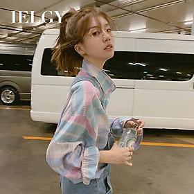 IELGY Plaid shirt pink sunscreen long sleeve shirt