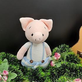 Gấu bông móc len Amigurumi cao cấp - Bé heo xinh tròn mặc váy quà tặng nhồi bông độc đáo cho bé- SP000035