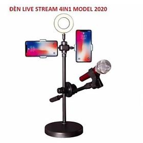 Đèn Live Stream 4in1 Để Bàn Có Chân Đỡ Micro Live Tream Hai Điện Thoại Loại Tốt- Bộ Giá đỡ Livestream Đa Năng Có Đèn Led Siêu Đẹp- Phụ Kiện Livestream Cao Cấp- Chất Liệu Hoàn Toàn Kim Loại Chắc Chắn- Đảm Bảo Ánh Sáng