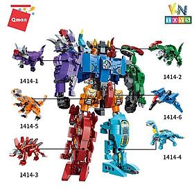 Đồ chơi xếp hình, lắp ráp 6 in 1 Qman 1414 - Siêu Robot khủng long Sura (456 mảnh ghép)