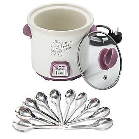 Nồi tiềm yến bằng sứ 0,7L Nắp kính (hồng) + tặng kèm 10 muỗng súp inox
