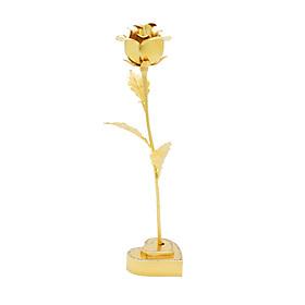 Quà tặng 8/3 ý nghĩa: Hoa hồng mạ vàng đế trái tim