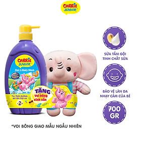 Sữa Tắm gội cho bé Carrie Junior Tinh chất Sữa 700g TẶNG Voi bông (màu ngẫu nhiên)