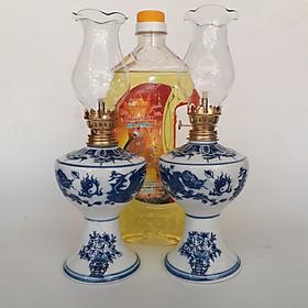 Cặp đèn thờ sứ Bát Tràng  và 1 dầu Lưu Ly Cát Tường 2 lit